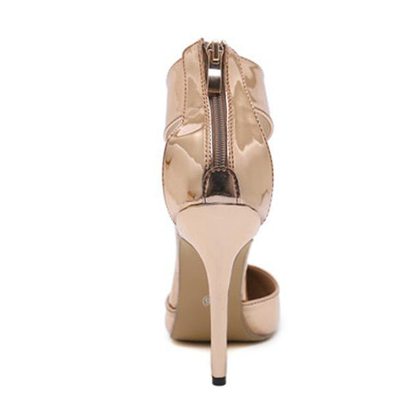 SEXY CHAMPAGNE GLADIATOR ZIPPER PUMPS WITH POINTED TOE HIGH AND THIN HEELS SHOES
