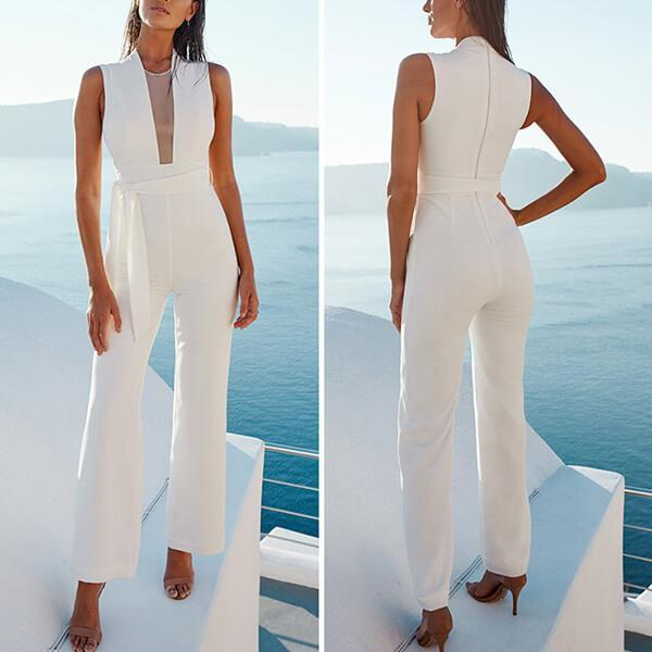 ELEGANT CLEAN-CUT LINES WITH SASH-STYLE BELT JUMPSUIT
