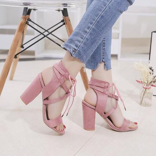 SEXY BANDAGE SANDALS WITH ANKLE STRAP PUMPS AND SUPER SQUARE HIGH HEELS 10.5 CM SHOES