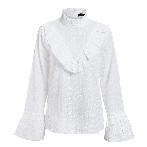 SEXY WHITE FLARE LONG SLEEVE BLOUSE RUFFLES SHIRT
