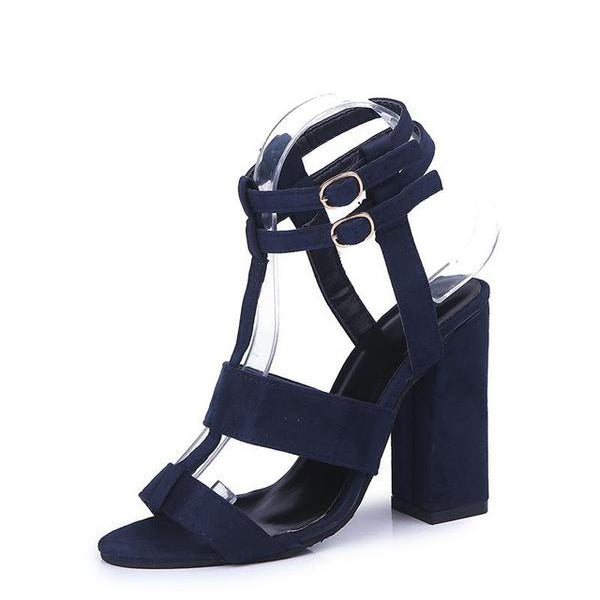 SEXY PUMPS SANDALS SQUARE HIGH HEEL 10CM WITH ANKLE STRAP SHOES