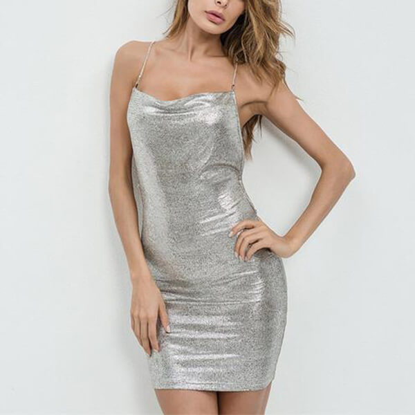 SHINY BRONZING BODYCON DRESS