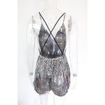 SEXY AND ELEGANT SEQUINED BACKLESS PARTY OVERALL WITH V NECK SLEEVELESS SKINNY PLAYSUIT