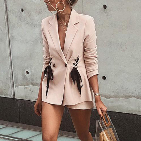 SEXY AND ELEGANT PINK LACE UP WITH DOUBLE BREAST SUIT BLAZER