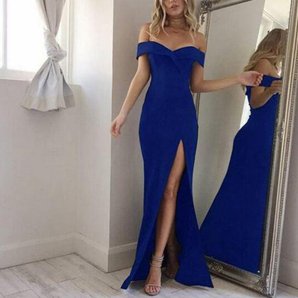 ELEGANT SPLIT THE FORK OFF SHOULDER WITH SLASH NECK LONG DRESS