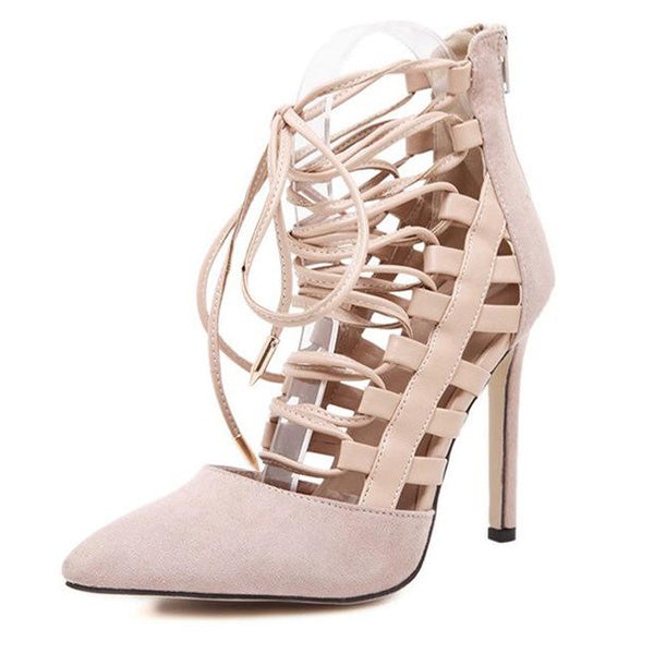 SEXY PUMPS SANDALS WITH FLOCK ANKLE STRAP CROSS AND TIED HIGH HEELS 11.5 CM  SHOES