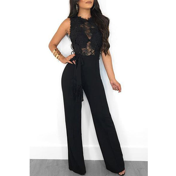 SEXY LACE PATCHWORK SLEEVELESS LONG BODYCON JUMPSUIT WITH BELT