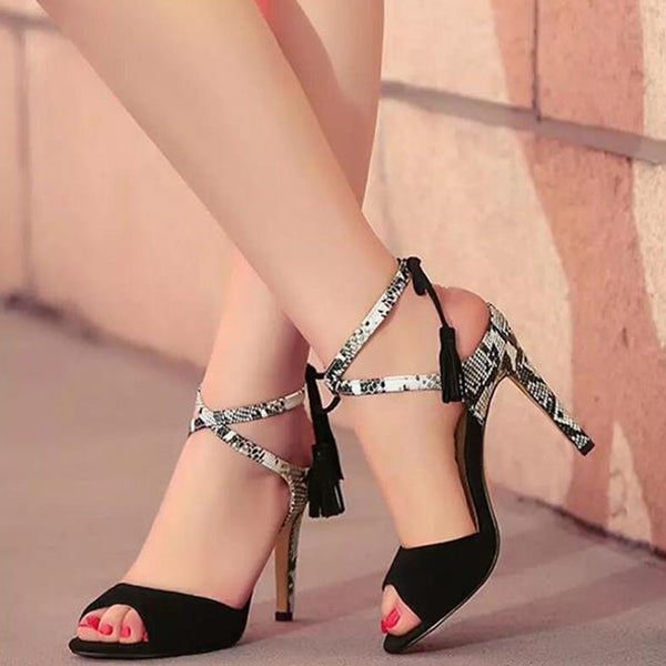 SEXY GLADIATOR SANDALS WITH HIGH HEEL AND PEEP TOE CROSS-TOE SHOES