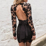 SEXY LACE FLORAL WITH LONG SLEEVE AND DEEP V-NECK DRESS