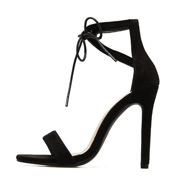 SEXY BLACK GLADIATOR SANDALS WITH HIGH HEEL AND PEEP TOE CROSS-TOE SHOES