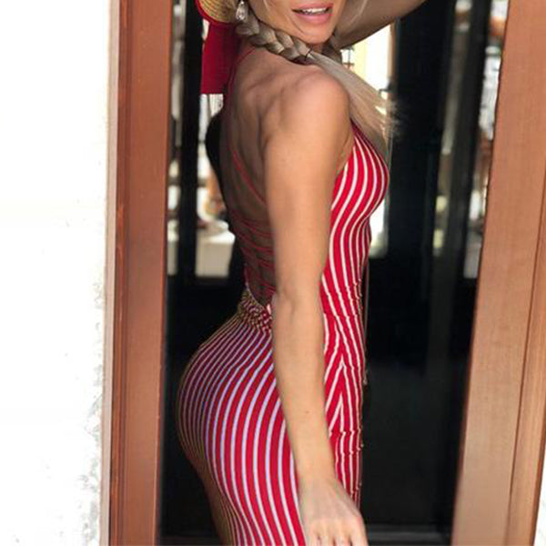 SEXY RED STRIPED  WITH BACKLESS LACE UP DRESS