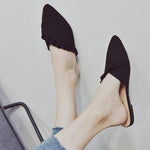 SEXY SLIP ON FLAT MULES RUFFLES LOAFER FLIP FLOP POINTED TOE SHOES