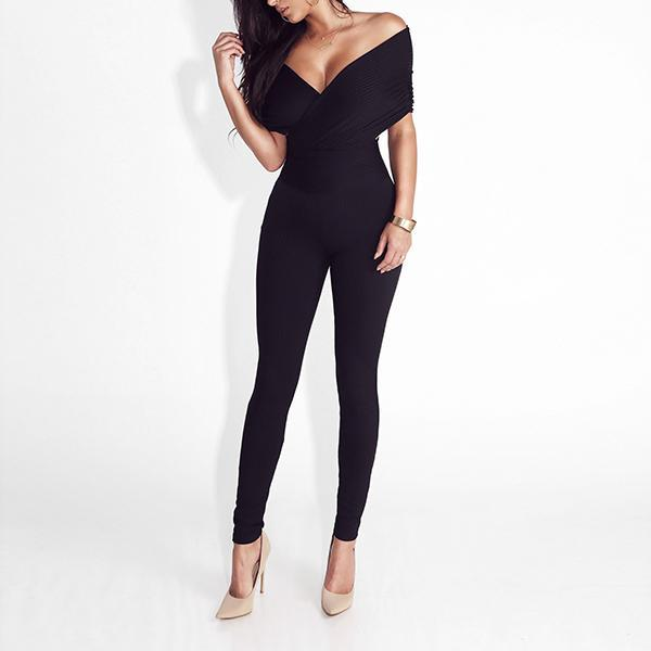 SEXY WRAP NECKLINE WITH DEEP V AT THE FRONT AND BACK JUNPSUIT