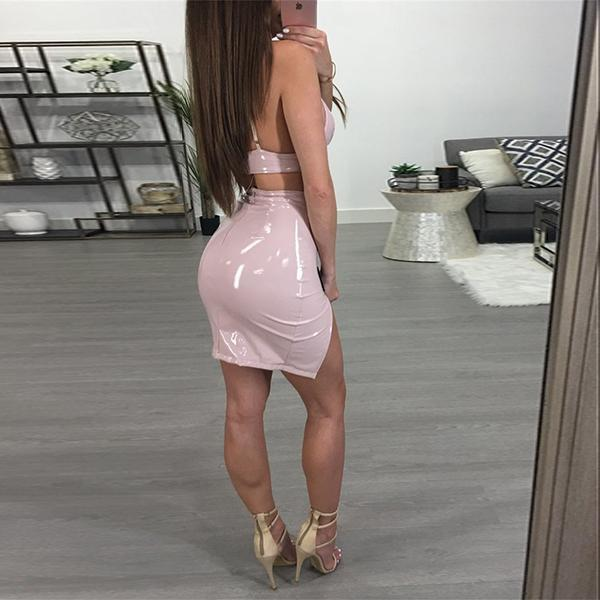 SEXY PLUNGING CROP TOP AND HIGH WAIST MINI SKIRT WITH A THIGH REVEALING SLIT TWO PIECES SET