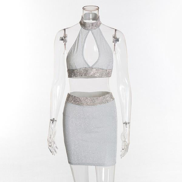SEXY SILVER CROP TOP AND MINI PENCIL SKIRT TWO PIECES SET