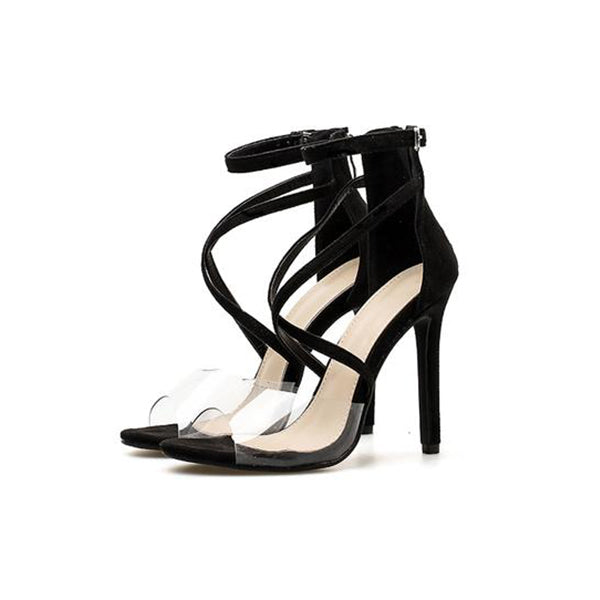 SEXY PVC ANKLE STRAP GLADIATOR SANDALS WITH LACE UP HIGH HEELS AND CROSS-TIED BUCKLE SHOES