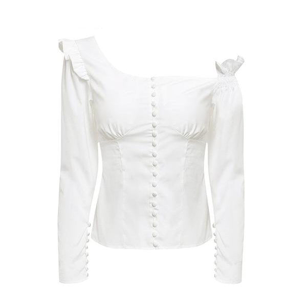 ELEGANT WHITE VINTAGE ONE SHOULDER SINGLE-BREASTED BLOUSES PUFF WITH SLEEVE RUFFLE BLOUSE TOP