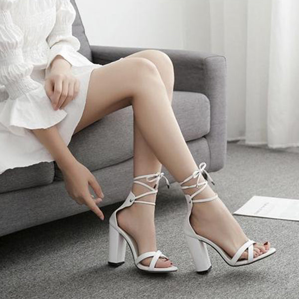 SEXY PUMPS SANDALS WITH PEEP TOE CROSS-TOE AND HIGH HEELS SHOES