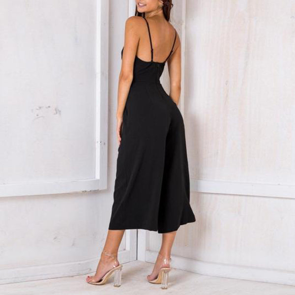 SEXY BACKLESS WITH CALF-LENGTH PANTS AND ZIPPER BACK PLAYSUIT