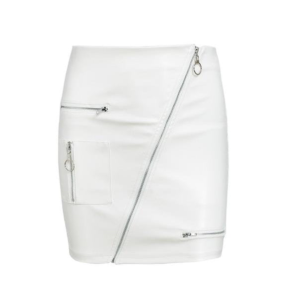 SEXY WHITE ELASTIC BODYCON ZIPPER PU LEATHER WITH HIGH WAIST SKIRT
