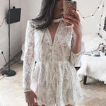 SEXY AND ELEGANT WHITE LACE SEQUINED HALTER WITH DEEP V NECK AND LONG SLEEVE PLAYSUIT