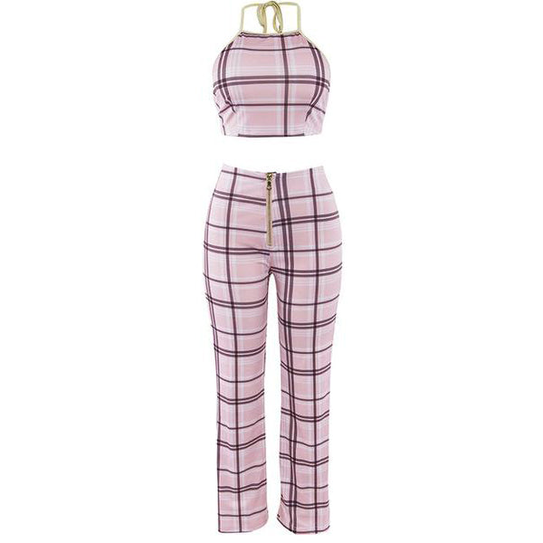 SEXY PINK BODYCON PLAID SUIT TWO PIECES SET