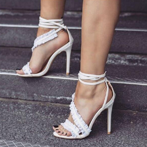 SEXY RUFFLES LACE UP SANDALS WITH ANKLE STRAP AND THIN HEELS SHOES