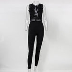 SEXY TRANSPARENT MESH EMBROIDERY LACE JUMPSUIT