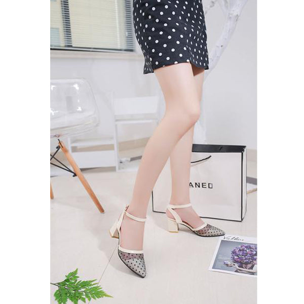 HOLLOW COARSE SANDALS HIGH-HEELED SHALLOW MOUTH POINTED BAOTOU WORK SHOES