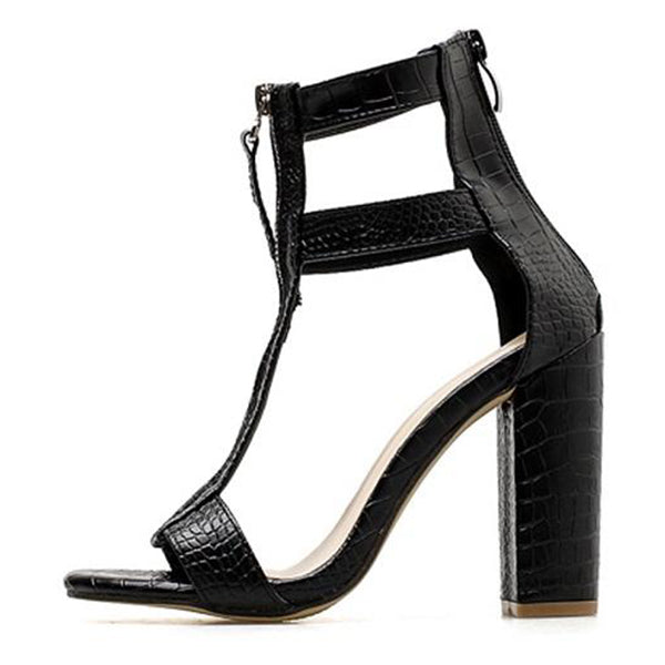 SEXY BLACK CUT-OUTS PEEP TOE GLADIATOR SANDALS BOOTS WITH HEELS STONE PATTERN SHOES