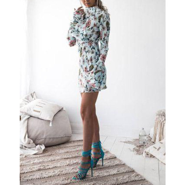 SEXY MINI BACKLESS GREEN FLORAL WITH FLARE LONG SLEEVE DRESS