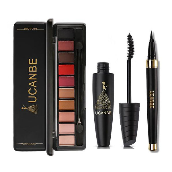 3PCS VALUE EYE MAKEUP INCLUDED 10 COLORS NUDE EYESHADOW PALETTE SET WITH BRUSH BLACK LIQUID EYELINER AND MASCARA COSMETICS KIT