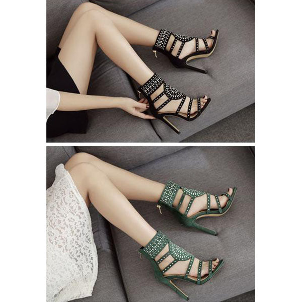 SEXY GLADIATOR SANDALS ETHNIC OPEN TOE RHINESTONE DESIGN WITH HIGH HEEL AND CRYSTAL ANKLE WRAP DIAMOND SHOES