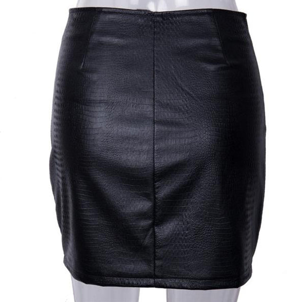 SEXY BLACK LEATHER MINI WITH ZIPPER POCKETS AND HIGH WAIST SKIRT
