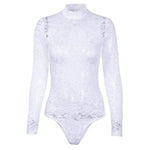 SEXY SLIM MESH TRANSPARENT LACE WITH LONG SLEEVE AND TURTLENECK BUTTON SEE THROUGH BODYSUIT