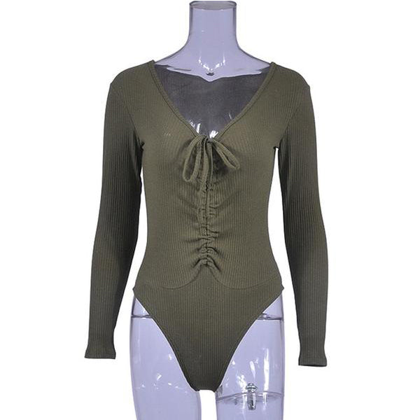 SEXY BANDAGE COTTON BLEND SKINNY WITH LONG SLEEVE AND O-NECK BODYSUIT