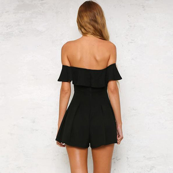 SEXY MINI RUFFLE WITH OFF SHOULDER BEACH PARTY PLAYSUIT