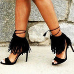 SEXY BLACK FRINGE LACE UP GLADIATOR SANDALS PEEP TOE WITH THIN HIGH HEELS  SHOES