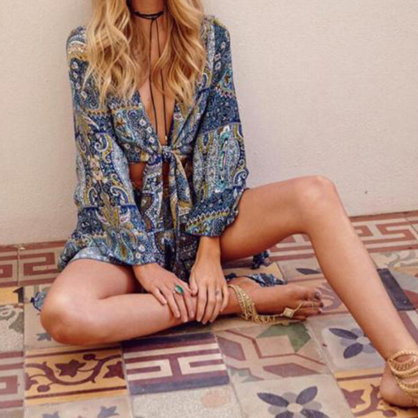 SEXY BOHO FLORAL PRINT FLARED SLEEVE WITH DEEP  V-NECK PLAYSUIT
