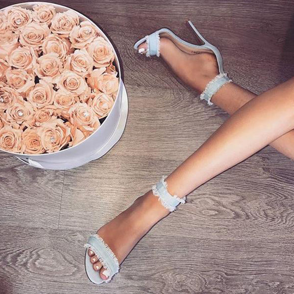 SEXY DENIM LACE PUMPS SANDALS WITH THIN HEELS SHOES