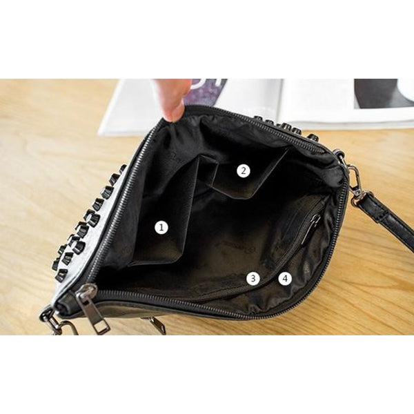 SEXY BLACK RIVETS ENVELOPE FLAP HANDBAG AND SHOULDER BAG