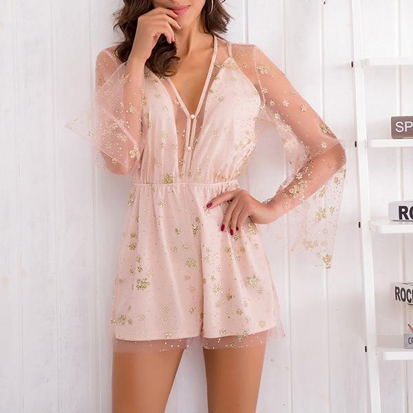 SEXY PINK WITH GOLDEN FLOWERS BUTTONS AT THE FRONT ZIP UP BACK PLAYSUIT