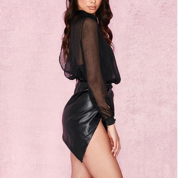 SEXY MINI FAUX BLACK LEATHER WITH WRAPOVER WAISTBAND SKIRT