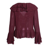 ELEGANT BURGUNDY RUFFLE CHIFFON LACE UP BLOUSE WITH V-NECK AND FLARE SLEEVE SHIRT