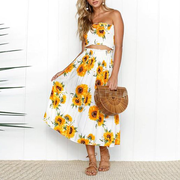 SEXY FOLD PRINT TUBE TOPS CROP TOP AND LONG SKIRT TWO PIECES SET