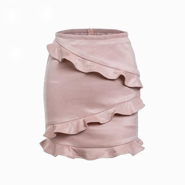 ELEGANT MINI LEATHER SUEDE WITH HIGH WAIST AND RUFFLES TRUMPET SKIRT