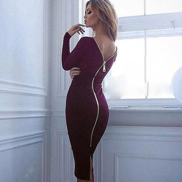 SEXY LONG SLEEVE WITH BACK FULL ZIPPER DRESS