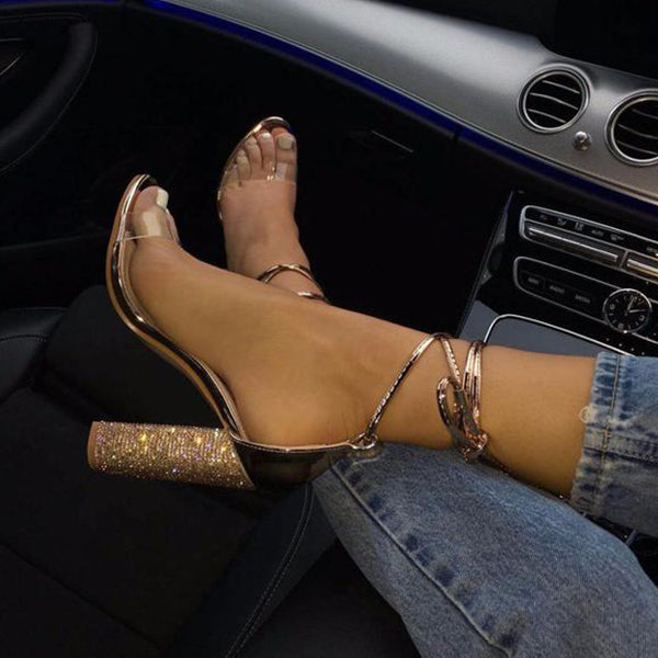 SEXY BANDAGE ANKLE STRAP CRYSTAL PUMPS SANDALS WITH SQUARE AND SUPER HIGH HEELS 10 CM SHOES