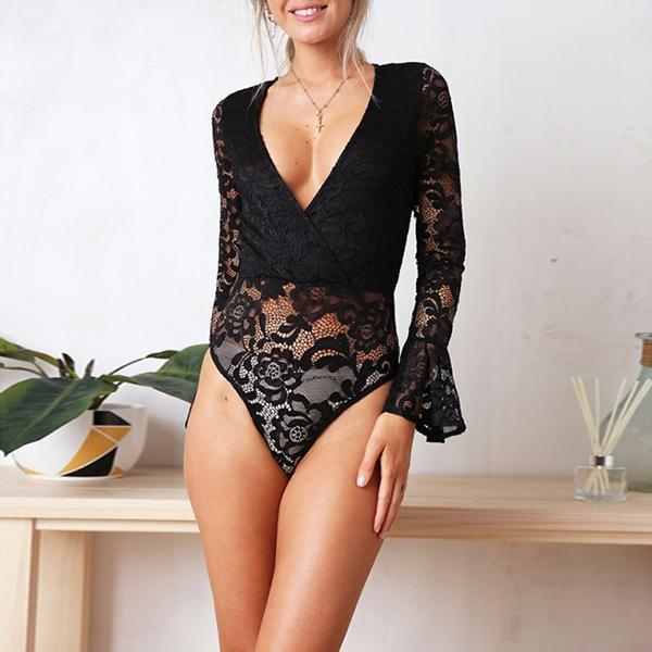 SEXY GRAPHIC LACE FLORAL WITH WRAP-OVER PLUNGE AND ZIP-UP BACK BODYSUIT