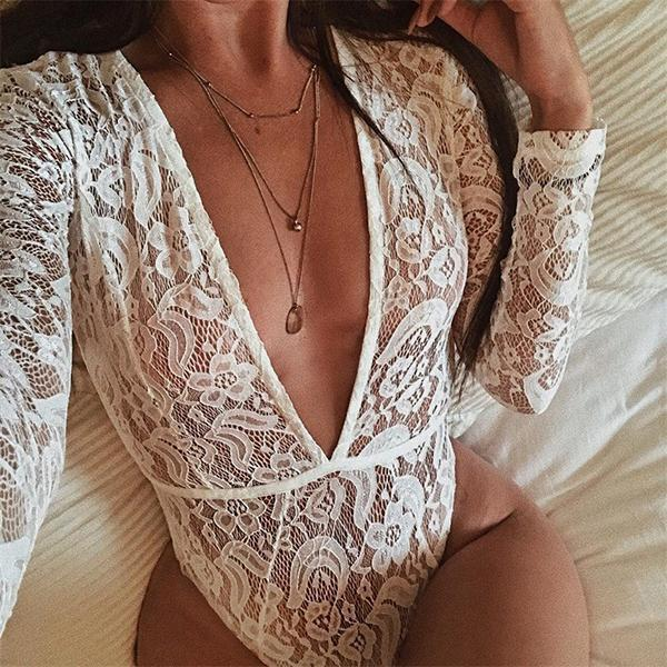 SEXY LACE SHEER FLORAL WITH LONG SLEEVES HIGH LEG CUT AND PLUNGING NECKLINE BODYSUIT